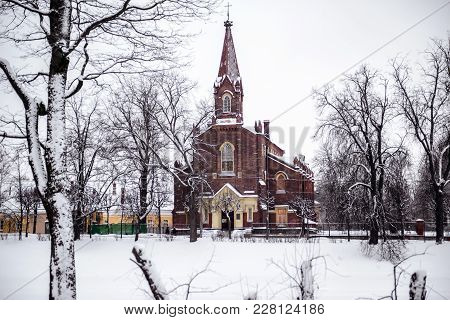 Lutheran Church Of The Resurrection Of Christ In Winter. The Finnish Evangelical Lutheran Parish In