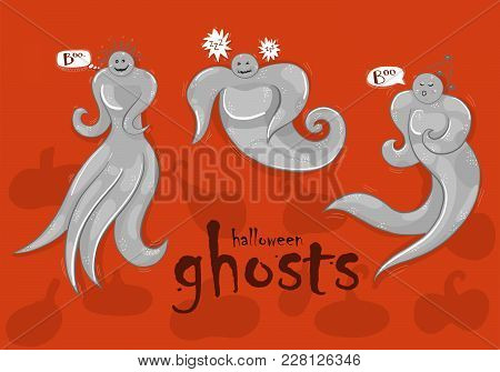 Three Isolated Ghosts On Orange Background. Helloween Theme.