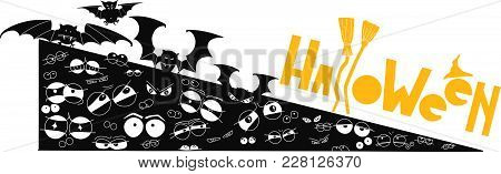 Halloween Icon With Special Text. Witch Theme. Frightened Eyes And Bats.
