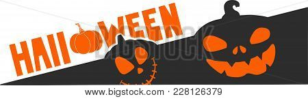Halloween Icon With Special Text. Pumpkin Theme. Evil Pumpkins