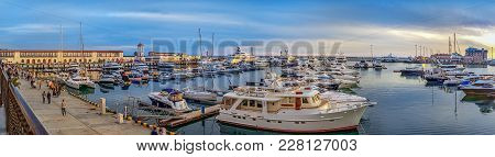 Sochi, Russia - April 23, 2016: Evening Panorama Of The Sea Wharf.
