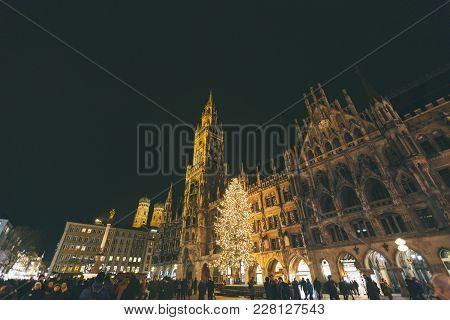 Marienplatz, Munich City Beautiful Panorama Scenic Skyline View Cityscape Of Munchen Night Illuminat