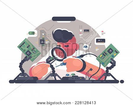 Man Solder Iron Electric Board. Diagnostics And Repair. Vector Illustration