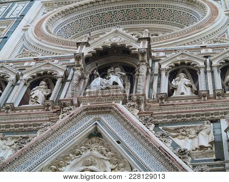 Italy, Toscana, Florence.architectural Detail Of Cathedral Santa Maria Del Fiore.