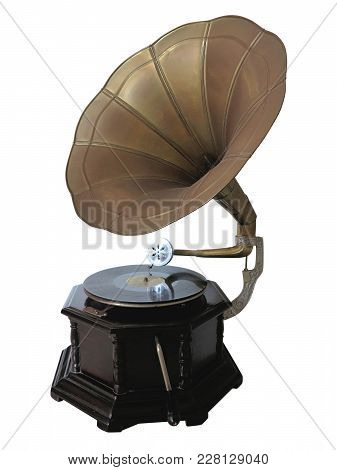 Vintage Old Gramophone Record Player Isolated Over White