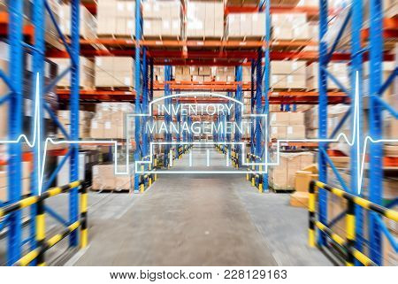 Warehouse Storage Of Retail Merchandise Shop. Interior Of Warehouse With Rows Of Shelves With Big Bo