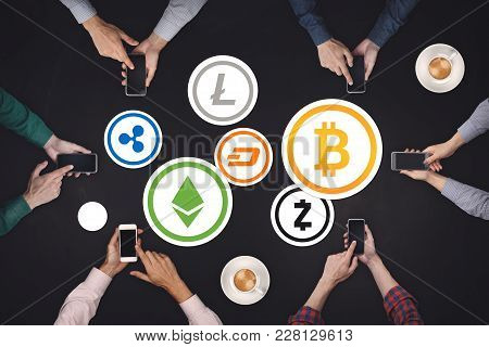 Teamwork Concept. Six Creative People Working Cryptocurrency Icon Concept. Bitcoin, Ethereum, Ripple