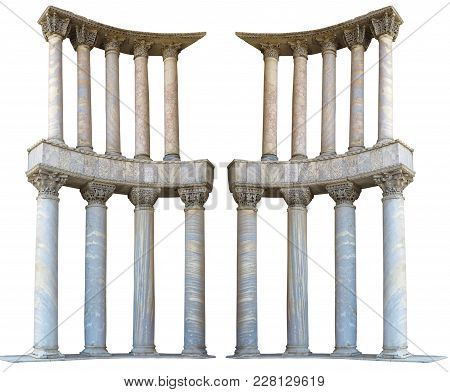 Ancient Colonnade Marble Stone Columns Isolated Over White Background