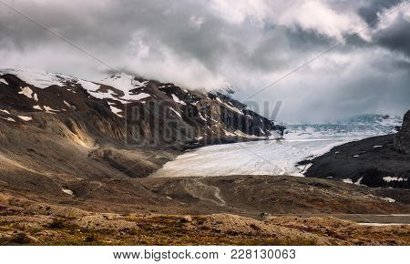 Athabasca Glacier Located At Columbia Icefield Along The Icefields Parkway In Jasper National Park,