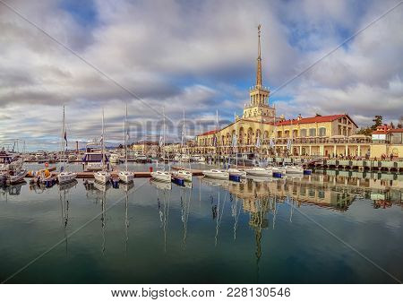 Sochi, Russia - February 23, 2015: Yachts On The Wharf, Of The Seaport.