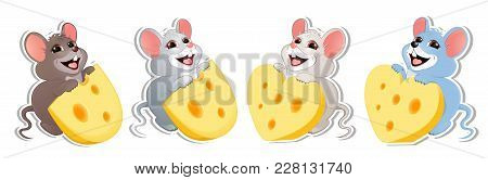 Set Of Baby Mouse With Cheese Of Different Shapes. Clip Art For Advertising Your Products, For Banne