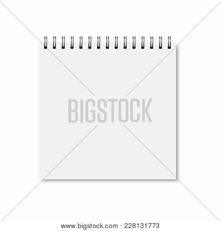 Vector White Realistic Closed Notebook Cover. Square Blank Notebook, Copybook, Brochure, Menu With M