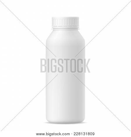 3d Mockup Of Plastic Milk, Yogurt, Drink, Shampoo Bottle With Lid On White Background. Vector Illust