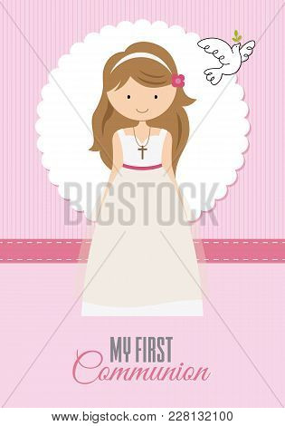 My First Communion Girl. Card Girl Praying And A Pigeon Flying
