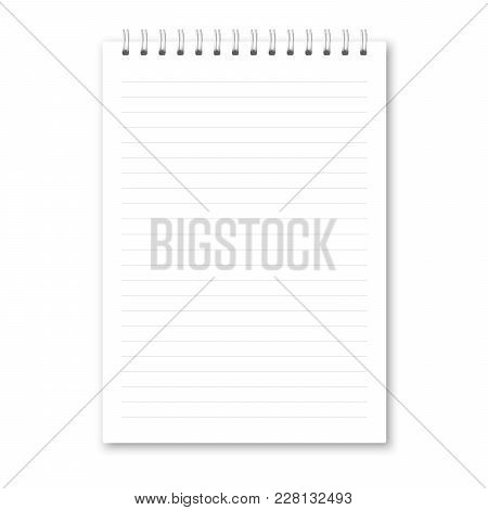 Vector Realistic Closed Notebook. Vertical White Metallic Silver Spiral Bound Blank Copybook Lined.