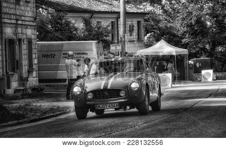 GOLA DEL FURLO, ITALY - MAY 19: FERRARI 250 GT COUPÉ 1956 on an old racing car in rally Mille Miglia