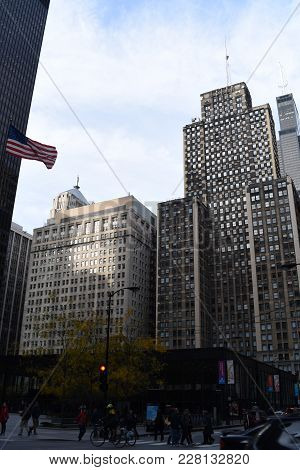 Federal Plaza In Downtown Loop Chicago With Post Office Building, Flag And Half Mast, 111 West Adams