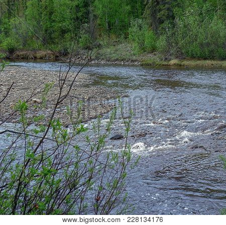 River Passing By With Sandbar In Middle