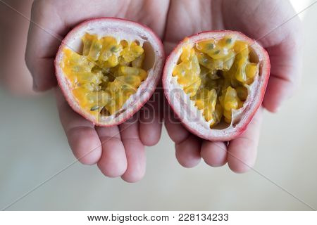Hand Of Caucasian Woman Holding Juicy Passion Fruit On White Background