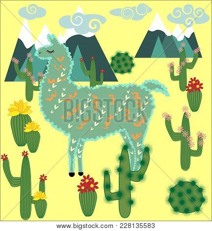 Cute Alpaca. Llama Animals And Cactus. Llama Alpaca. Cartoon Animal.