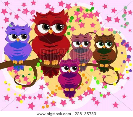 Happy Family Of Owls On Tree Branches. Daddies, Mothers And Children, Grandparents. Spring, Summer,