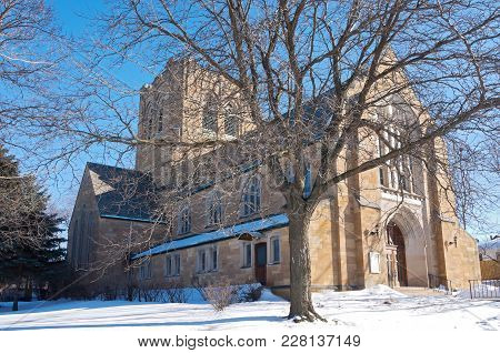 Neo Gothic Style Architecture Of Landmark Church In West Side Of Saint Paul Ramsey County Minnesota