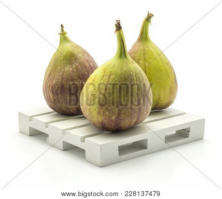 Three Fresh Figs On A Pallet Isolated On White Background Ripe Purple Green