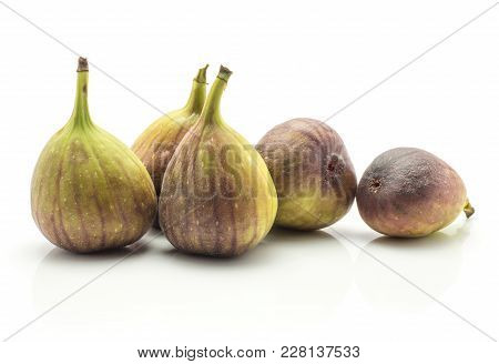 Five Figs Ripe Purple Green Isolated On White Background Fresh