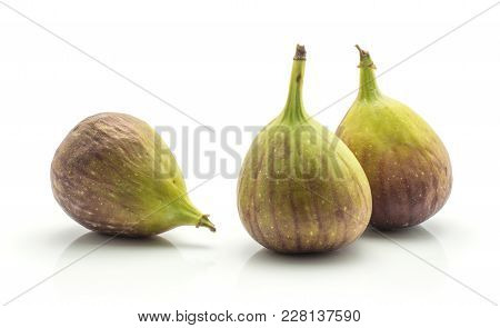 Three Fresh Figs Set Isolated On White Background Ripe Purple Green