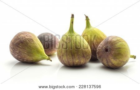 Fresh Figs Isolated On White Background Five Ripe Purple Green