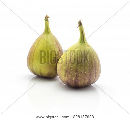 Fresh Figs Isolated On White Background Two Ripe Purple Green