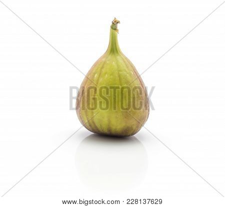 One Fresh Fig Isolated On White Background Ripe Purple Green
