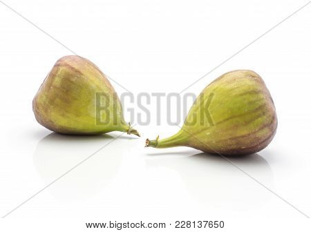 Two Figs Purple Green Isolated On White Background Ripe Fresh