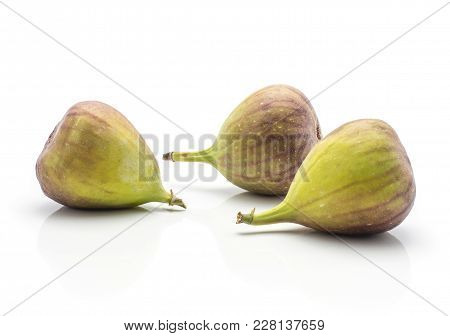 Three Figs Purple Green Isolated On White Background Ripe Fresh