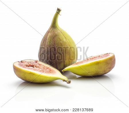 One Whole Fig And Two Sliced Halves With Rose Flesh Isolated On White Background Ripe Fresh Purple G
