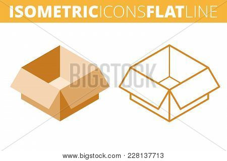 The Cardboard Box. Isometric Flat And Outline Icon Set. The Empty Paper Package, Post Carton Line Pi