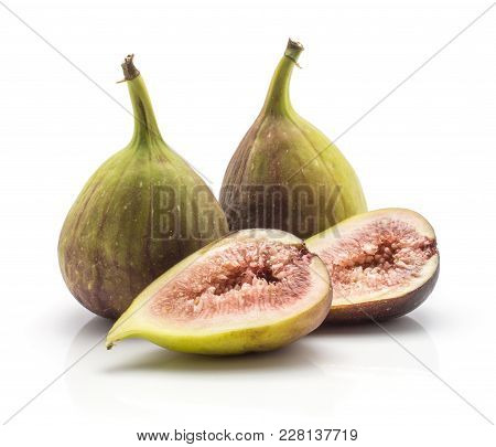 Two Figs Two Halves With Rose Flesh Isolated On White Background Ripe Fresh Purple Green