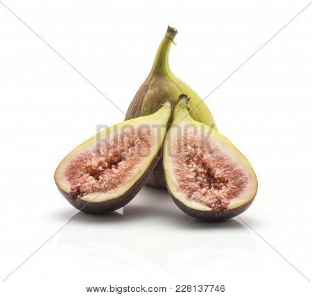 One Fig Two Halves With Rose Flesh Isolated On White Background Ripe Fresh Purple Green