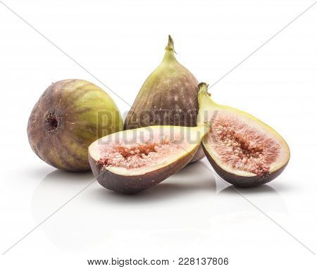 Two Figs Two Rose Flesh Halves Isolated On White Background Ripe Fresh Purple Green