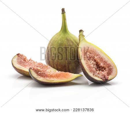 One Fig One Half Two Slices Isolated On White Background Ripe Fresh Purple Green And Rose Flesh