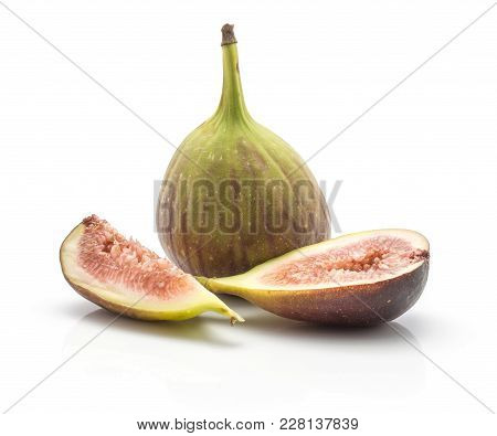 One Fig With A Half And Slice Isolated On White Background Ripe Fresh Purple Green And Rose Flesh