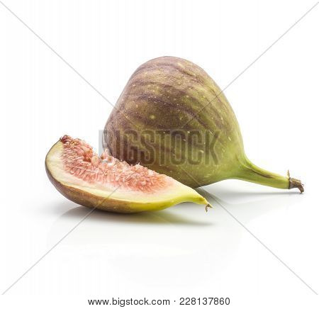 One Fig One Slice Isolated On White Background Ripe Fresh Purple Green And Rose Flesh