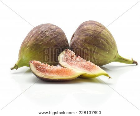 Two Green Purple Figs Two Slices Isolated On White Background Ripe Fresh Rose Flesh
