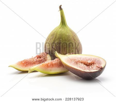 Sliced Figs One Whole Two Slices One Section Half Isolated On White Background Ripe Fresh Rose Flesh