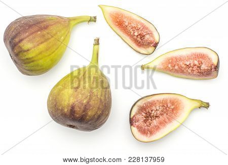 Fresh Figs Top View Isolated On White Background Ripe Purple Green