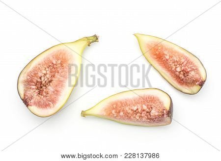 Cut Figs Top View Isolated On White Background One Half Two Slices Ripe Purple Green Rose Flesh