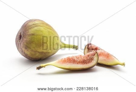 One Fig Two Slices With Rose Flesh Isolated On White Background Green Purple