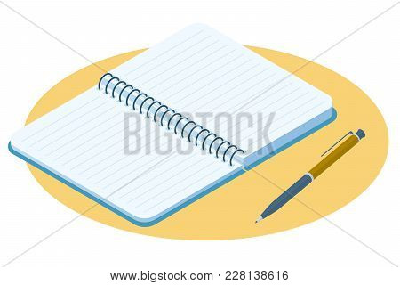 Flat Isometric Illustration Of Opened Notebook. Office And School Vector Concept: Paper Notepad With