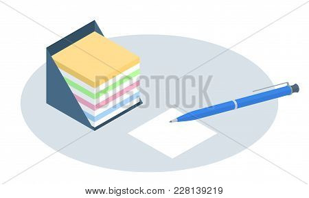Flat Isometric Illustration Of Memo Box. Office And School Vector Concept: Desktop Colorful Notes St