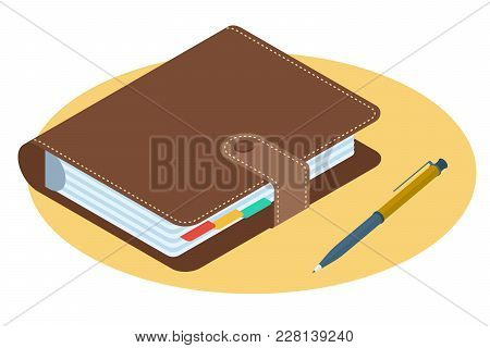 Flat Isometric Illustration Of Personal Planner. Business Workplace Accessory And Supply Isolated On